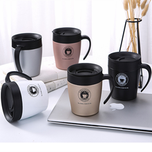 YIBO 1PCS 6-12 hours Men stainless steel thermal cup With handle Eco-Friendly coffee mug rose gold Office Cup