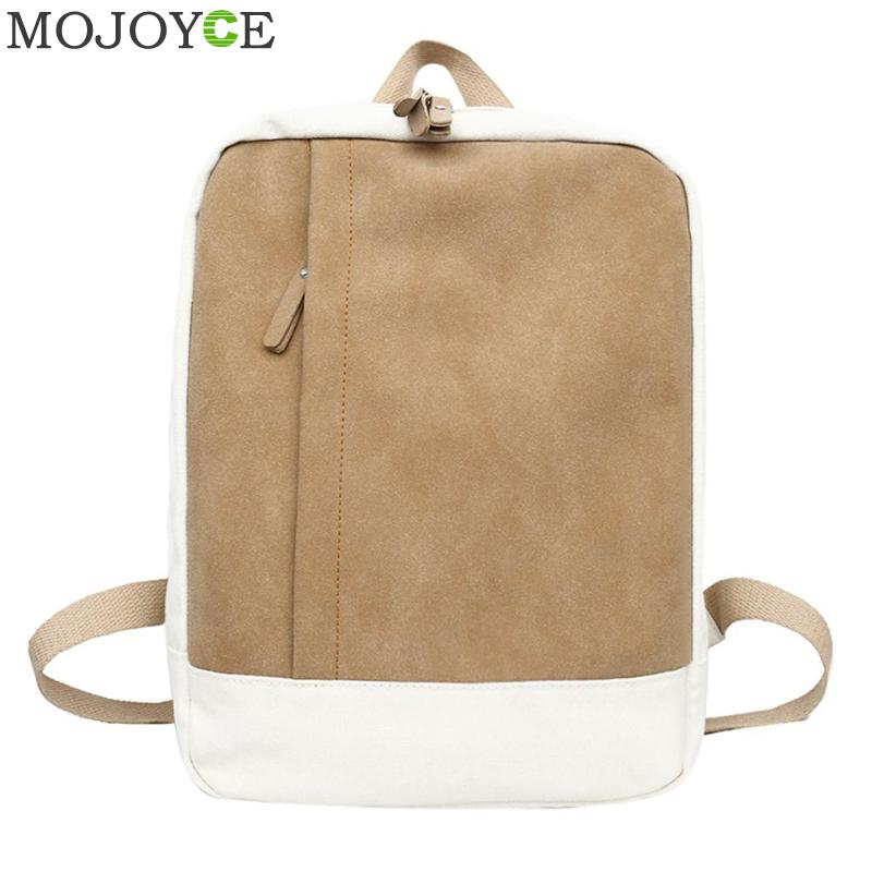 Simple Canvas Women Backpacks Patchwork Color School Bags for Teenager Girls Shoulder Bag Fashion Female Travel Daypack Rucksack aosbos fashion portable insulated canvas lunch bag thermal food picnic lunch bags for women kids men cooler lunch box bag tote