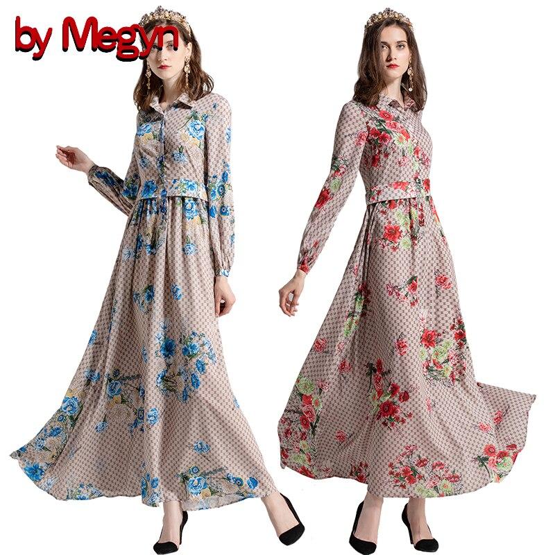 by Megyn 2019 women long dress summer with long sleeve print 3XL plus size dress robe