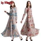 by Megyn maxi dress for women plus size dresses ladies long sleeve elegant party vintage floral print 2018 autumn long dresses