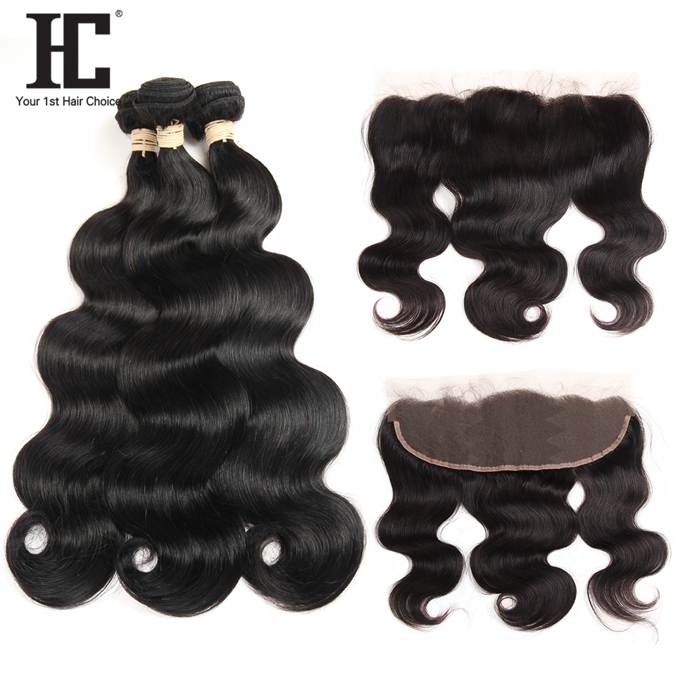 HC Hair Peruvian Body Wave 3 Bundles With Lace Frontal Closure Non Remy 100 Human Hair