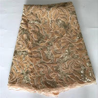 African Fabric French Tulle Lace Fabric With Velvet Lace And Sequins 5 Yards Per Lot Net Lace Lady Wedding Dress 30