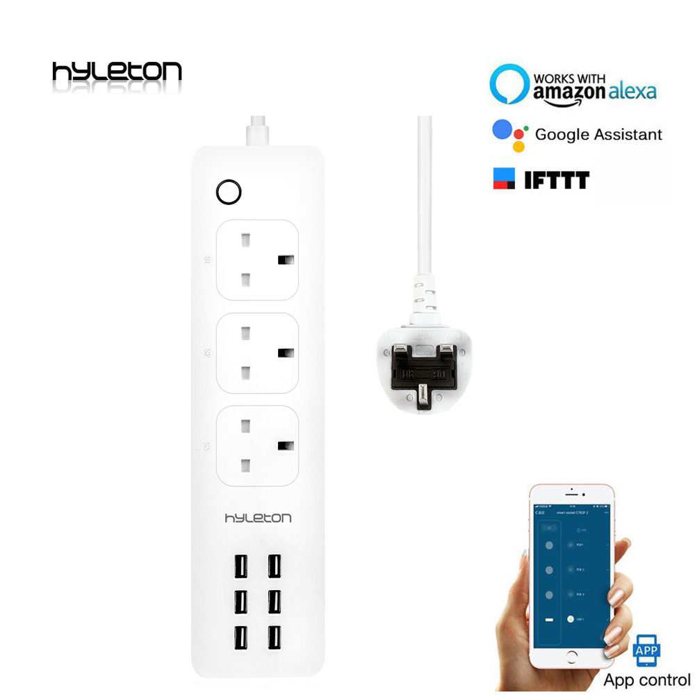 Hyleton smart power strip wifi plug UK plug 3 AC outlet 6 USB remote/ Smart Home Control Switch smart life APP google home Alexa цены