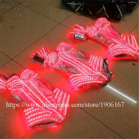 RGB Colorful LED Sexy Women Dress Suits Luminous Flashing Ballroom Costumes Party Dance Event Party Supplies Led Clothing