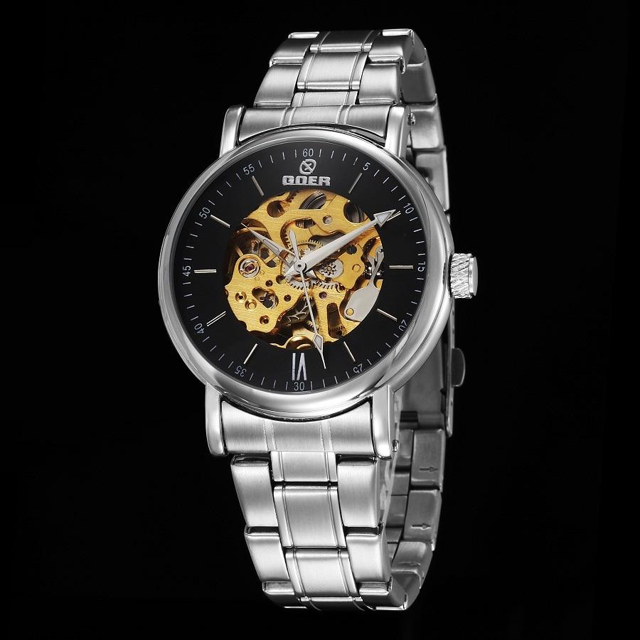 GOER brand fashion men s mechanical watches Skeleton Automatic Wrist watch Sports waterproof Luminous Stainless Steel