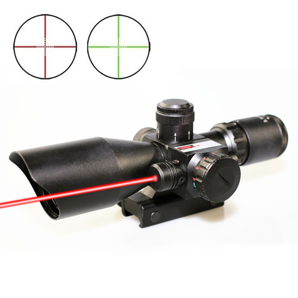 SPINA Hunting Rifle Scope 2.5-10x40e Red&Green Illuminated Crosshair Sniper Gun Optics Sight Riflescopes Electro Red Dot Sight