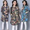 Blusas femininas 2017 новая мода рубашка национальная тенденция женщин плюс размер печати с длинным рукавом свободные рубашки блузки верхняя одежда
