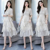 High Quality women chiffon dress 2019 summer lady dots print elegant casual office chiffion dress short sleeve
