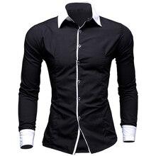 8 цветов мужские рубашки мода 2016 весна длинным рукавом смокинг рубашки slim fit полосатый мужчины рубашка хлопка размер 2xl