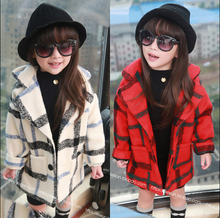Free shipping Qiu dong outfit new han edition girls woolen cloth coat children tartan wool coat