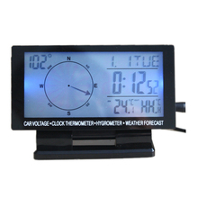 """Navigation Dashboard Car Compass ornament In Car Digital Compass 4.6"""" LCD Display Blue LED Clock Thermometer Calendar"""