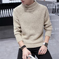 Mens Christmas Sweater Solid Colors Turtleneck Knitted Pullovers Homme Winter Warm Thick Red Sweater Slim Fit Masculina Fashion