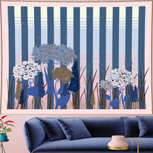 Nordic Style stripe flower Tapestry Vintage navy blue Pattern Tapestries Retro Wall Hanging home decor GN.PAPAYA