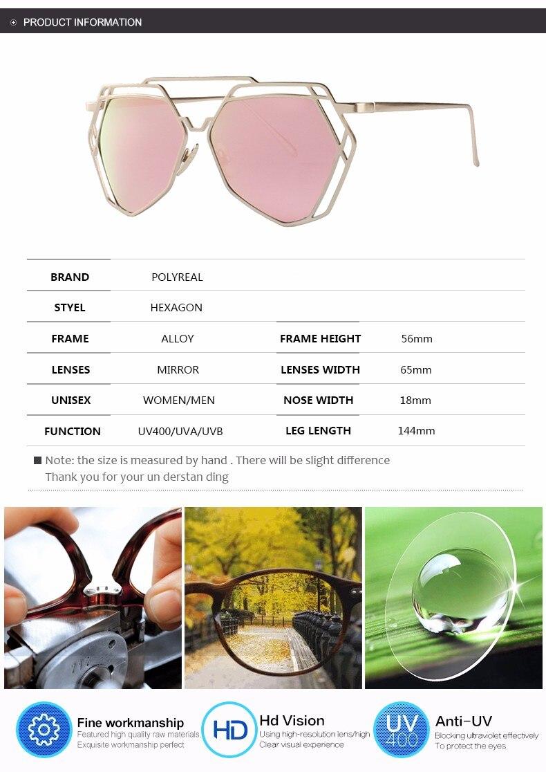 POLYREAL Surdimensionné Hexagone Creux Steampunk lunettes de Soleil Femmes  De Mode Double-Poutres Grand Miroir Lunettes de Soleil Pour Femme Lady UV400 fae94a920edb