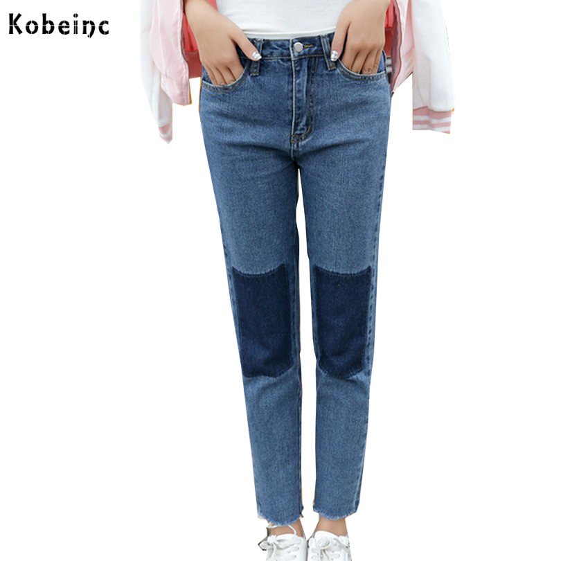 Fashion Splice Patch Jeans Women Casual Mid Waist Straight Trousers Large Size S-XXL All Match Denim Pants 2017 Autumn Pants fashion s xxl autumn high waist jeans