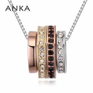 ANKA brand novelty round circle rolling pendants necklaces women's jewelry designer romantic necklace jewelery #123969