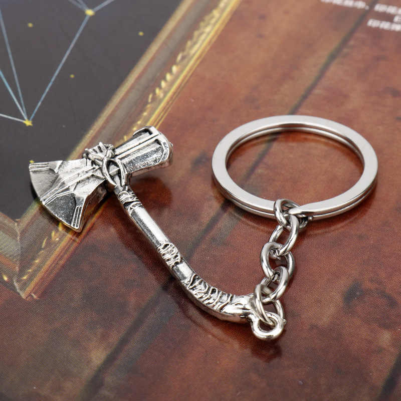 The Avengers 3 Infinity War Thor Axe Hammer Keychain for Movie Fans Car Keyring Jewelry Action Figure Cosplay Toys
