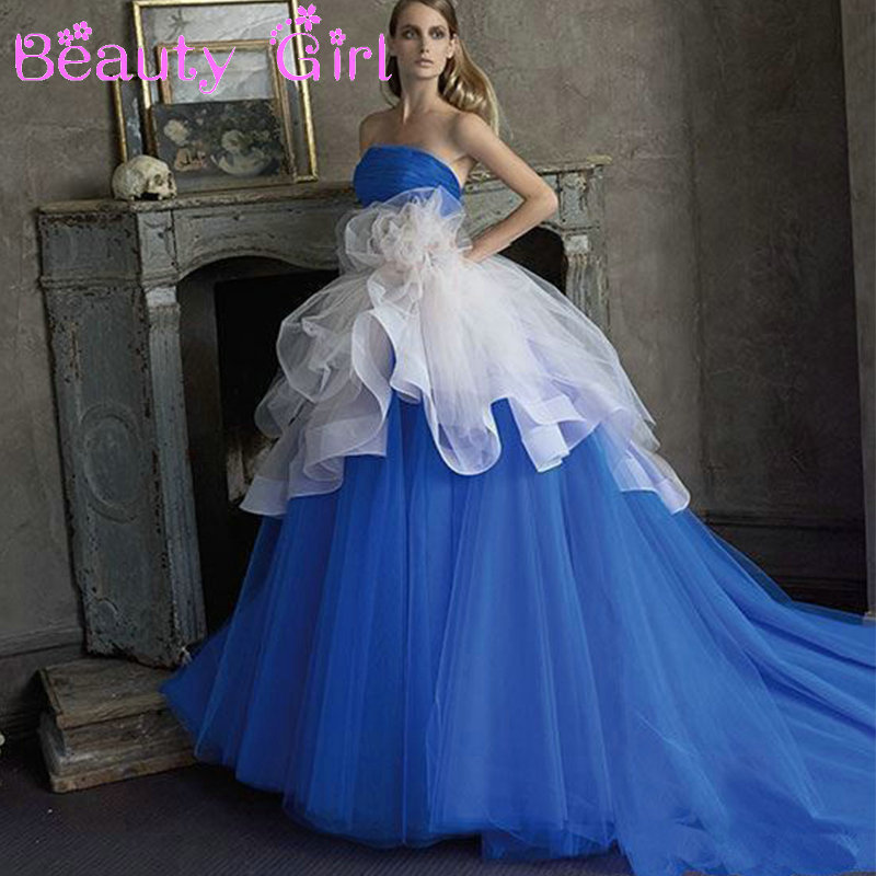 Online get cheap royal blue wedding dresses aliexpress for Royal blue and white wedding dresses
