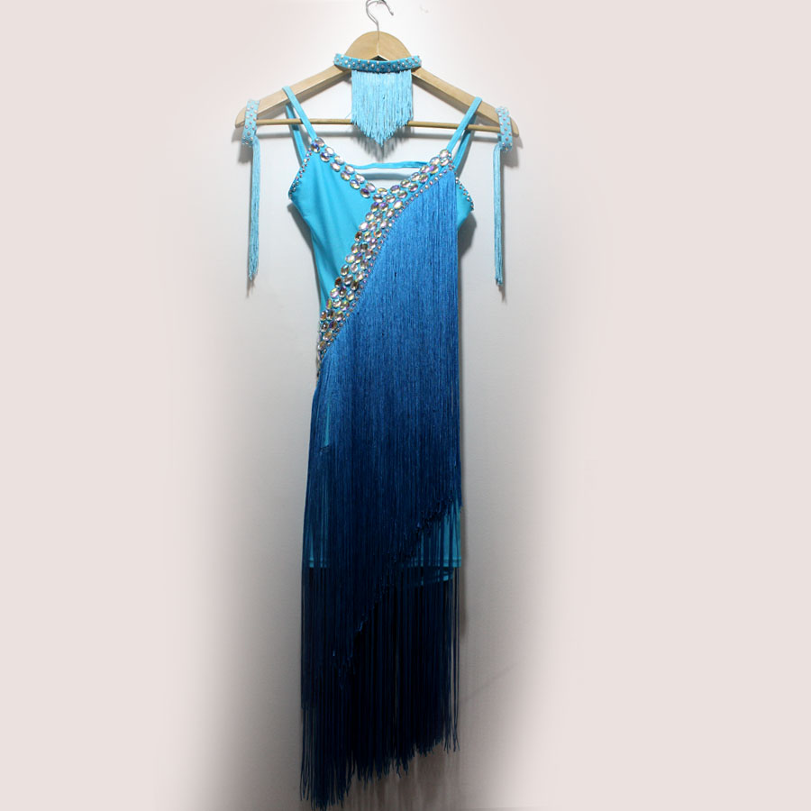 New Style Latin Dance Costume Sexy Long Tassel  Latin Dance Dress For Women Latin Dance Competition Dresses S-4XL