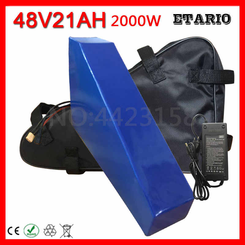 Free Customs No Tax 48V 20AH 2000W Electric Bike Battery 48V 20AH Ebike Triangle Battery with Free Bag 50A BMS 54.6V 2A Charger