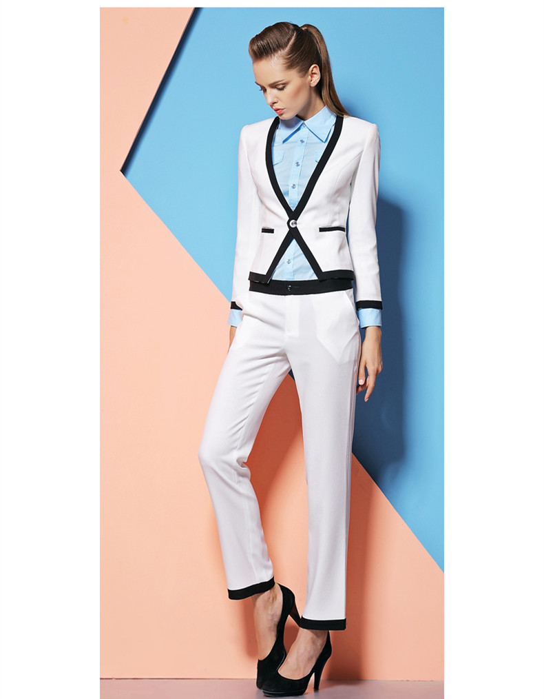 New Fashion 2018 Womens Business Suit Set 2 Pieces Women`s Custom made White Formal Office Suits Office Uniform Style