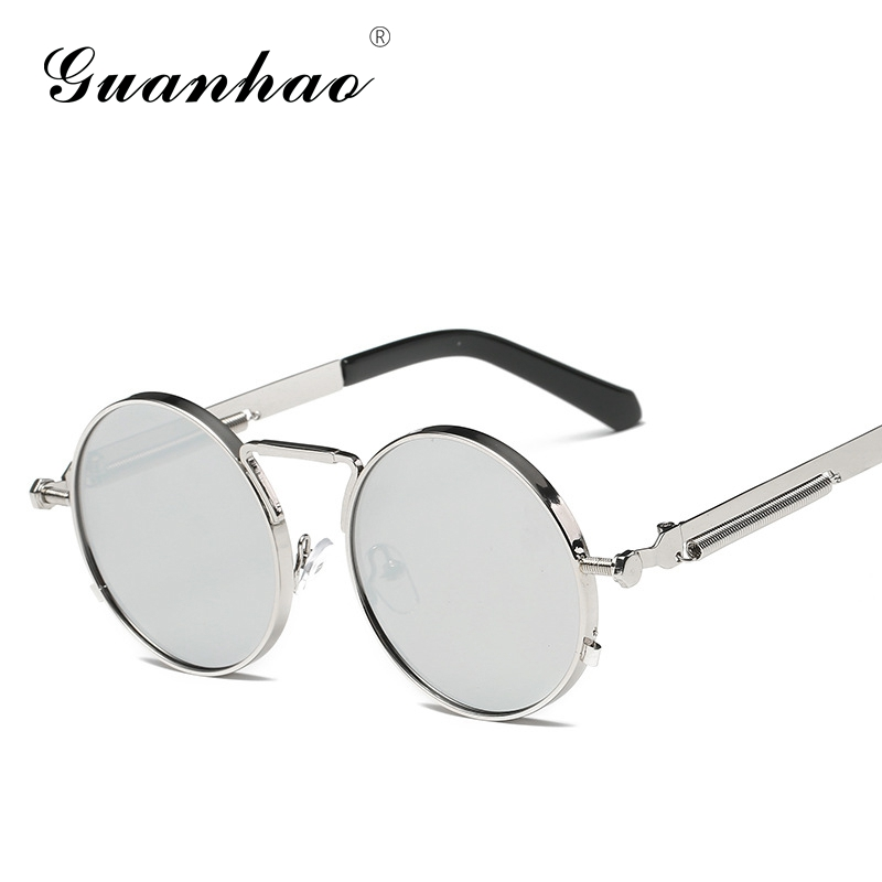 Steampunk Men Women Sun glasses Round Metal Retro Vintage font b Sunglasses b font Brand Designer