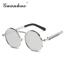 Steampunk Men Women Sun glasses Round Metal Retro Vintage Sunglasses Brand Designer Men's Glasses UV400
