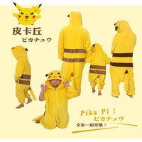 Anime Pokemon Go Cosplay Pikachu Hoodie Sleepwear Pajamas For Kids And Adult Yellow Unisex Onesie Cosplay
