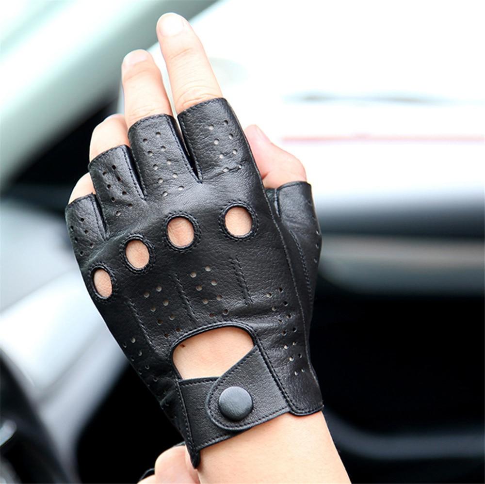 Leather Half Finger Gloves Men 39 S Thin Section Driving Exposing Sheepskin Gloves Half Fighting Gloves Imitation Deerskin Pattern in Men 39 s Gloves from Apparel Accessories