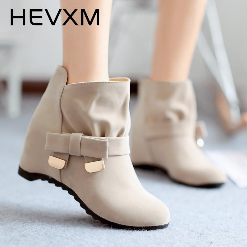 HEVXM Spring And Autumn New Arrivals Little Bow Tie Shoes Skidproof Rubber Sole Women Boots Fashion Women Ankle Casual Boots ...