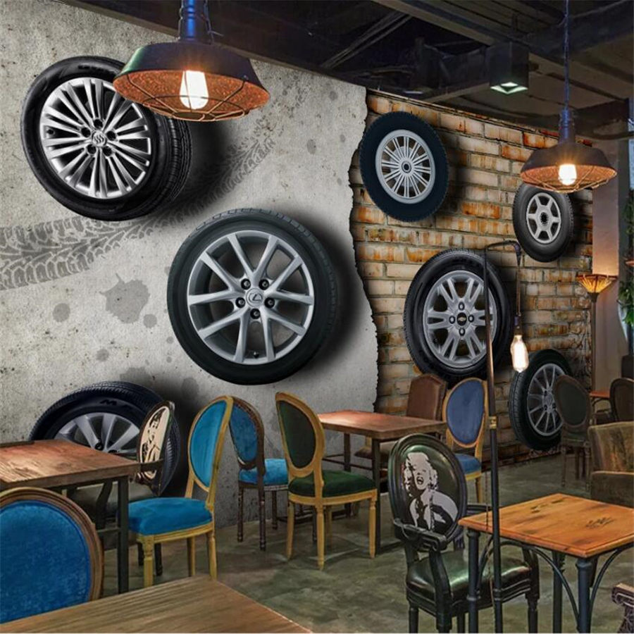 beibehang Custom <font><b>wallpaper</b></font> large <font><b>3D</b></font> solid wall painting retro nostalgic <font><b>car</b></font> tires living room brick wall TV background <font><b>wallpaper</b></font> image