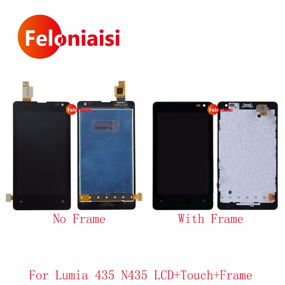 10Pcs DHL 4.0'' For Microsoft Nokia Lumia 435 N435 Full Lcd Display With Touch Screen Digitizer Panel Assembly Complete+Frame