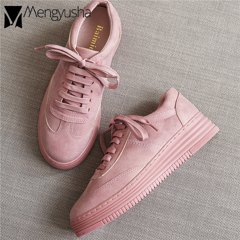 Ladies Pink Espadrilles Oxford Shoes Woman Tenis Creepers Platform Flats Girls Loafers White Leather Moccasins Height Increase