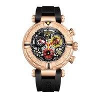 Reef Tiger RGA3059 S мужские спортивные Chronograp модные водонепроницаемые кварцевые наручные часы с резиновым ремешком для часов Rosegold
