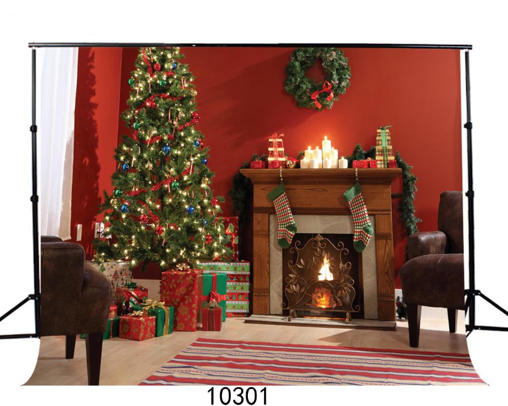 Background for Photos Christmas Fireplace 7X5ft Computer ...