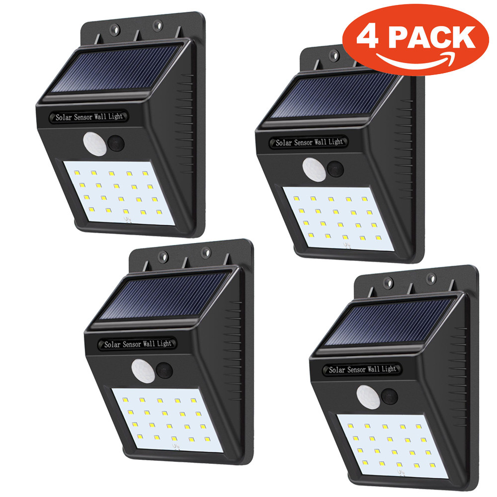 4 Pack - Solar Power Sensor Wall Light Security Motion Weaths