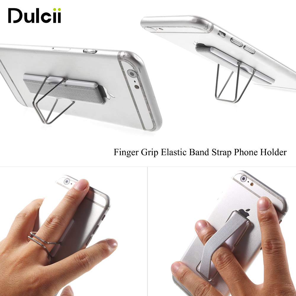 Dulcii for iphone for Samsung Finger Grip Elastic Band Strap Universal Phone Holder with Stand for Mobile Phones Tablets Black