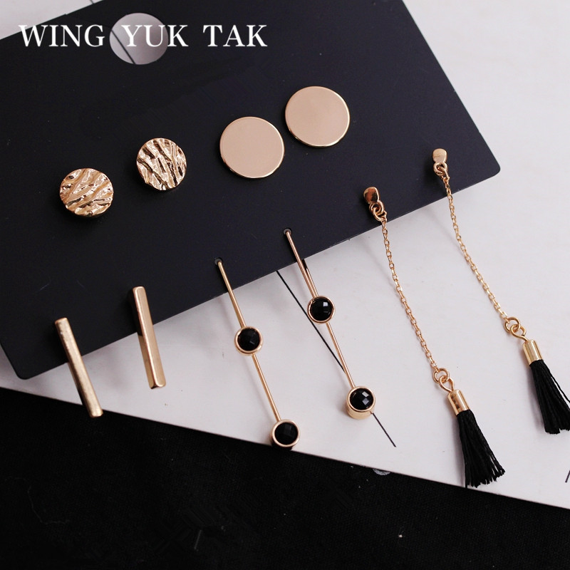 5 Pairs/set Fashion Tassel Round Stud Earrings Set for Women Trendy Mixed Black Acrylic Statement Korean Long Earrings Sets image