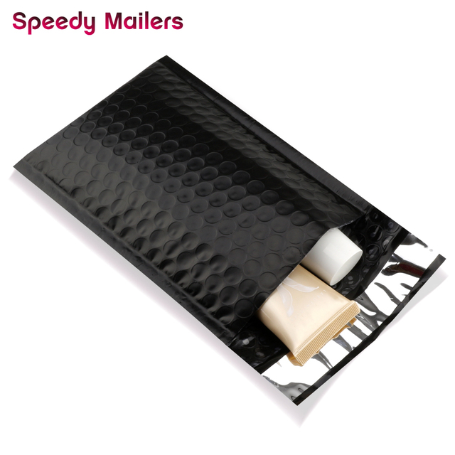 Speedy Mailers 10pcs/4x7-Inch/120*180mm Black Poly Bubble Mailer Self Seal Padded Envelopes/Black Mailing Bags