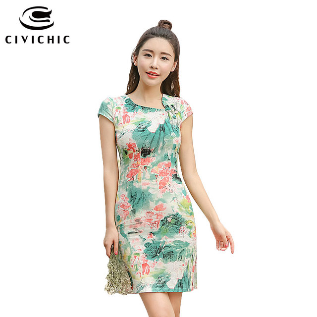 abc1fb7caa3 CIVICHIC Brand New Style Women Short Chinese Cheongsams Female Oriental  Vintage Printing Dress Lady s Chic Floral Vestidos QP112
