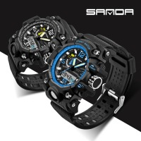 Male Fashion Sport Military Wristwatches 2017 SANDA Watch Men Luxury Brand 3ATM Diving LED Digital Analog