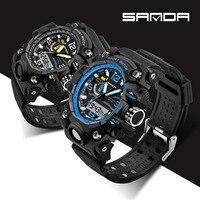 Male Fashion Sport Military Wristwatches 2017 SANDA Watch Men Luxury Brand 3ATM Diving LED Digital Analog