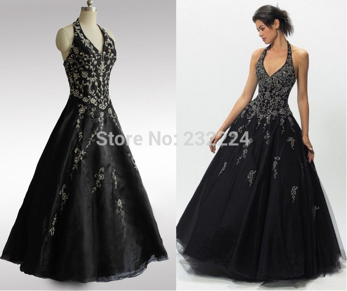 2014 New Real Sample Beaded Black Halter Floor Length Long Organza Formal Evening Dress Prom Gown Corset Lace Up Back X070