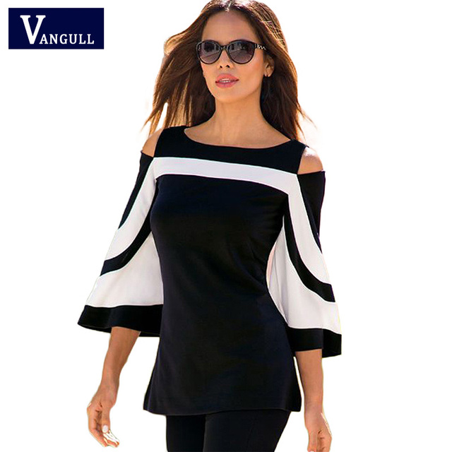 91fa687c2b94 Women Blouse Black White Colorblock Bell Sleeve Shirt Cold Shoulder Top  Mujer Camisa Feminina Blusas Office Ladies Clothes Tops