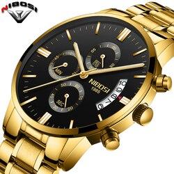 2018 NIBOSI золотые кварцевые часы лучший бренд роскошных Для мужчин часы моды человек Наручные часы Нержавеющаясталь Relogio Masculino Saatler