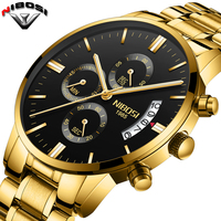 2018 NIBOSI Gold Quartz Watch Top Brand Luxury Men Watches Fashion Man Wristwatches Stainless Steel Relogio