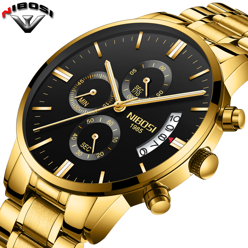 2018 NIBOSI oro cuarzo reloj Top marca de lujo hombres relojes Moda hombre pulsera de acero inoxidable Relogio Masculino Saatler