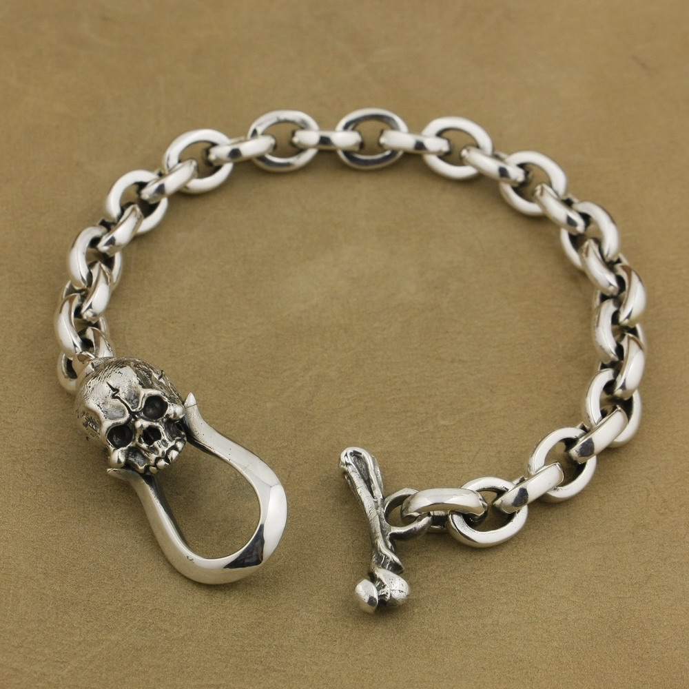 цены LINSION 925 Sterling Silver Skull OT clasp Mens Chain Biker Rock Punk Bracelet TA42