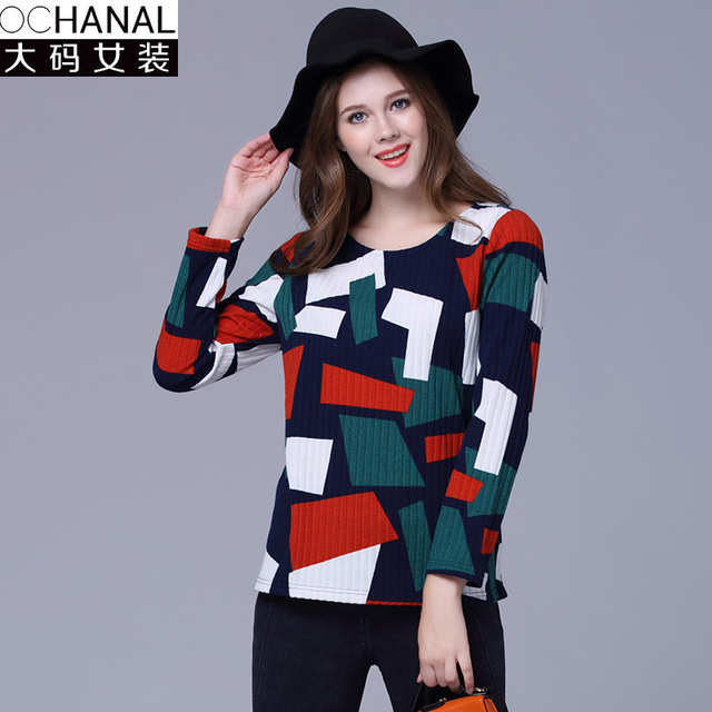 large size sweater women new European and American winter long sleeve pullovers contrast color knit sweaters pull femme 2016