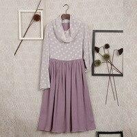 Japanese Mori Girl Bohemian Vintage Retro Boho Loose Crochet Cotton Linen Turtleneck Scarf Collar Polka Dot Women Autumn Dress
